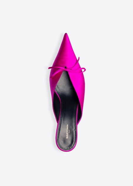 Balenciaga pointy-toe satin mules | Lovika #heels #flat #fushia