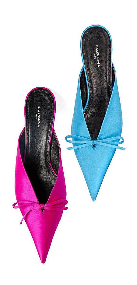 Balenciaga pointy-toe satin mules | Lovika #mules #heels