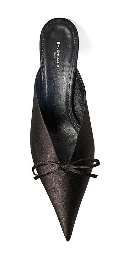 Balenciaga pointy-toe satin mules | Lovika #mules #heels #black