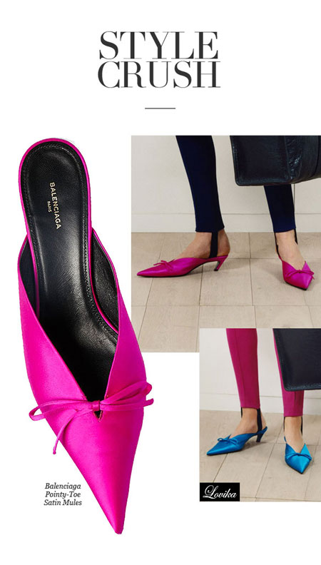 Lovika Style Crush: Balenciaga pointy toe satin mules