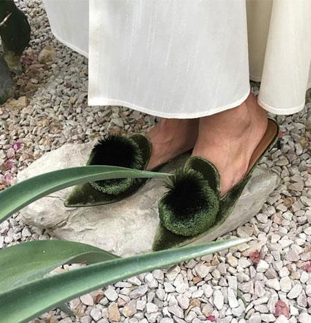 LOVIKA   Aquazzura powder puff velvet slippers #shoes #flats