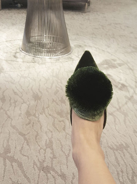 LOVIKA | Aquazzura powder puff velvet slippers #shoes #flats