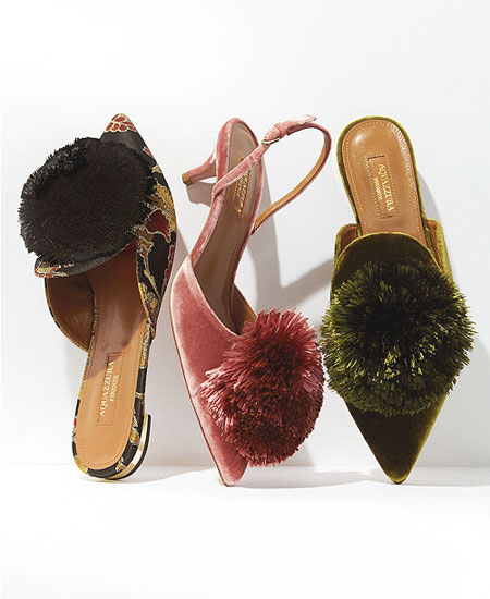 LOVIKA   Aquazzura powder puff velvet sandals #heels #pumps #shoes