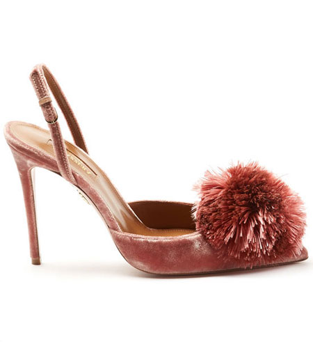 LOVIKA | Aquazzura powder puff velvet sandals #heels #pumps #shoes