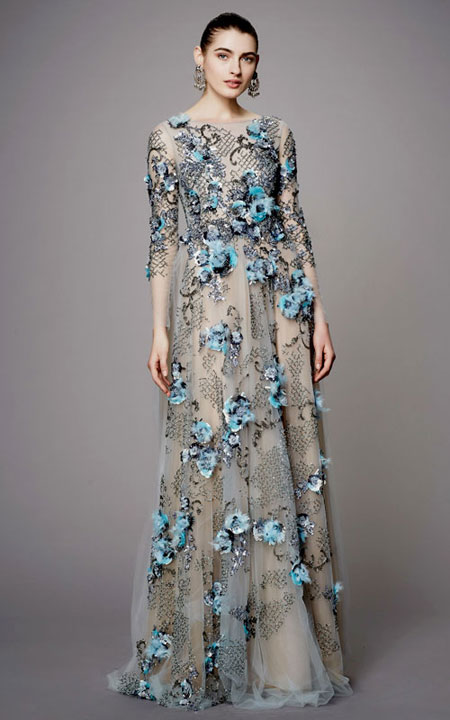 LOVIKA   Marchesa Pre-Fall 2017 Evening Gowns and Dresses #floral