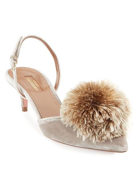 LOVIKA | Aquazzura powder puff velvet sandals #heels #pumps #shoes