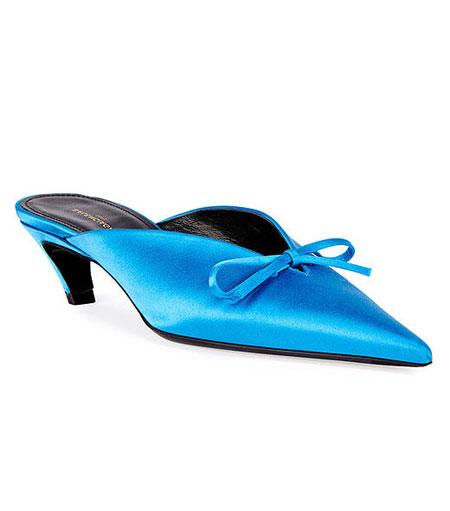 LOVIKA | Balenciaga pointy-toe satin mules #kitten #heels