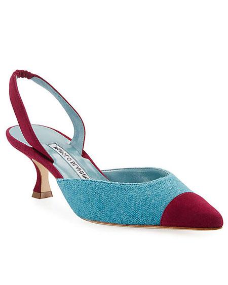 LOVIKA | Manolo Blahnik Carolyne tweed low-heel halter pumps #shoes