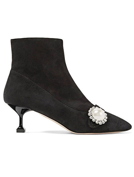 LOVIKA | Miu Miu Pearlescent Bootie #kitten #heels