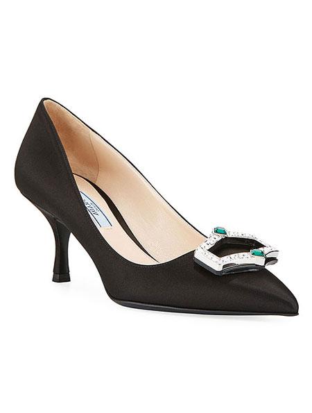 LOVIKA | Prada Satin Jewel Pump #kitten #heels