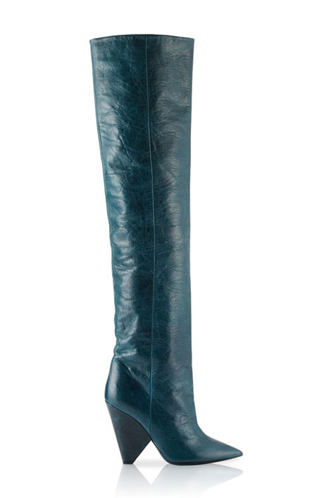 LOVIKA | Saint Laurent Crinkled leather knee boots