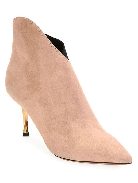 LOVIKA | Valentino Asymmetrical Suede Booties #kitten #heels