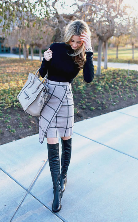 LOVIKA | 25 Chic Business-Casual Work Outfits for Fall #skirts #boots