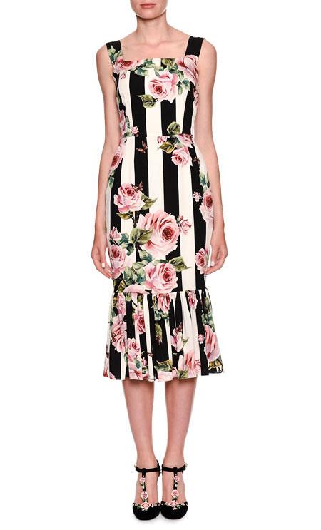 LOVIKA | Dolce & Gabbana Sleeveless Bamboo Climbing Flowers-Print Midi Floral Dress