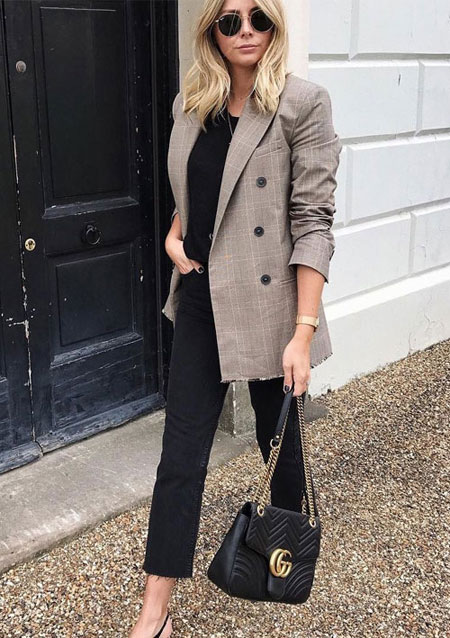 How to wear oversized blazer this fall #outfits #street #style #jeans #casual