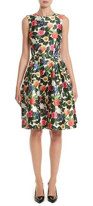 LOVIKA | Oscar de la Renta Silk Floral-Print Dress