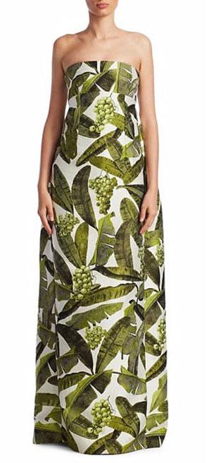 LOVIKA   Oscar de la Renta Strapless Leaf Gown Color:White-Green