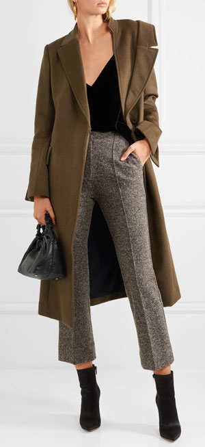 ADEAM Asymmetric wool and cashmere-blend coat