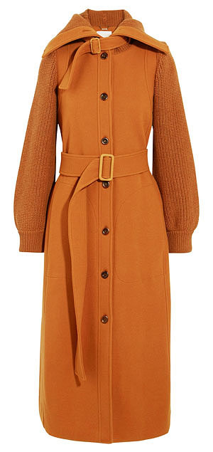Chloe Brushed Wool Knit-Sleeve Long Coat with Belt