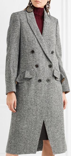 BURBERRY Double-breasted herringbone tweed coat