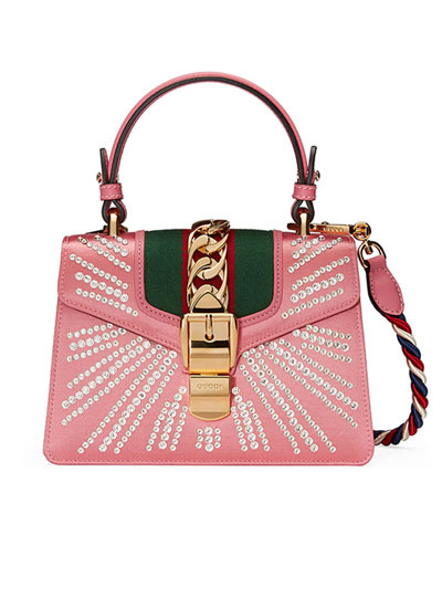 LOVIKA | Gucci Sylvie Mini Satchel bags from pre-spring 2018 #resort #handbags #pink #sylvie
