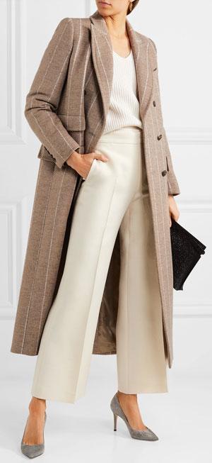 LOVIKA | Max Mara Pinstriped wool long winter coat