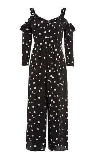 LOVIKA | Black polka-dot jumpsuit #clothing