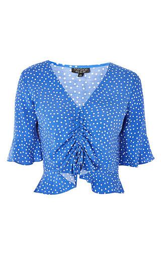 LOVIKA | Polka dot top #shirt #blue #clothing