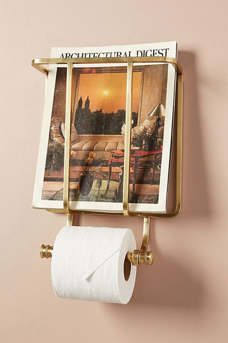 Bathroom interior design with gold accents