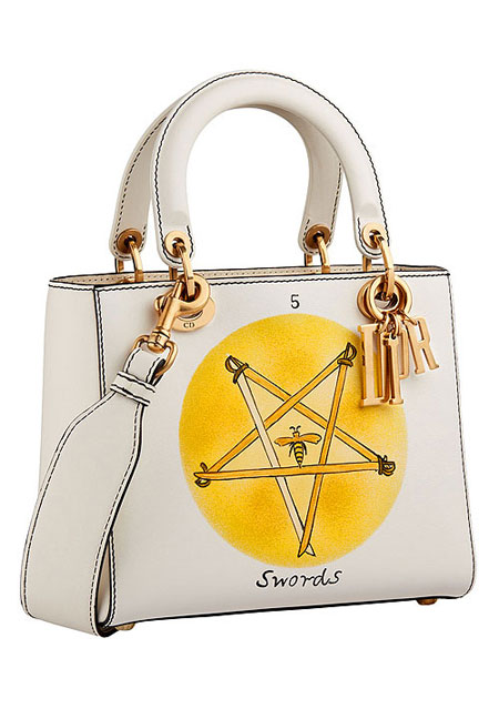 "Lady Dior ""Swords"" Handpainted Motherpeace Tarot Handbag #bags"