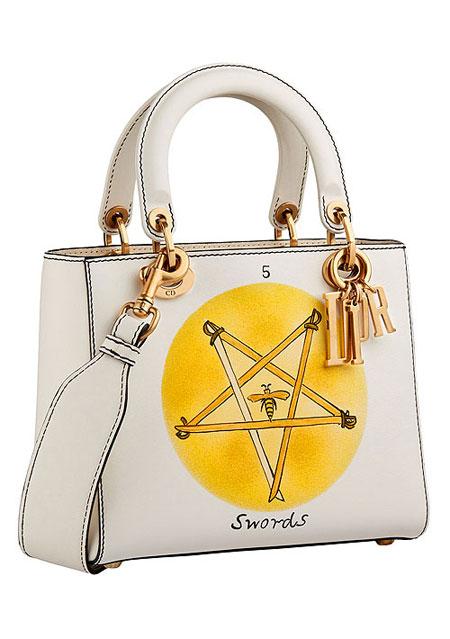 "Lady Dior ""Swords"" Handpainted Motherpeace Tarot Handbag #bags"