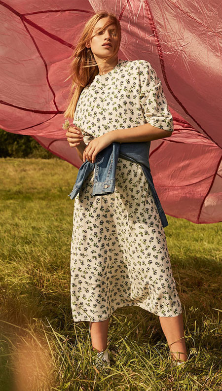 Fashion Editorial - Modern Romance featuring beautiful floral dresses and clothing in pastel shades