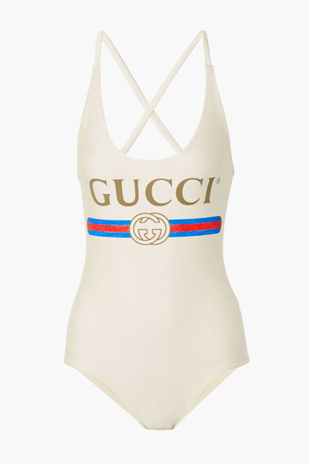 Gucci logo one-piece swimsuit #white #swimwear