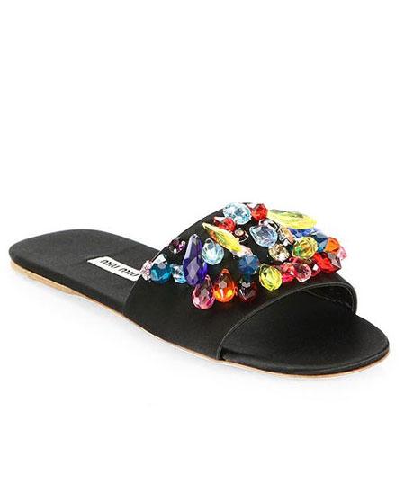 Miu Miu crystal-embellished pumps, slingbacks, flats #shoes #rainbow