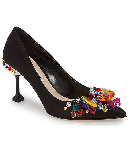 Miu Miu crystal-embellished pumps, slingbacks, flats #shoes #rainbow