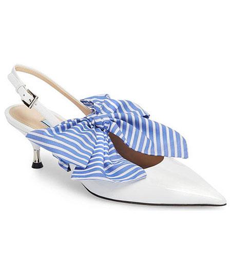 Prada large bow pointy-toe slingback sandal #pumps