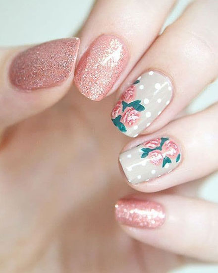 43 Pretty Floral Nail Design and Ideas for Spring