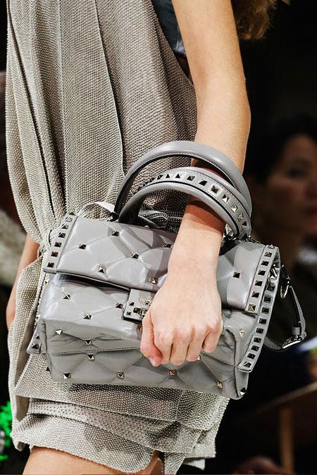 Valentino candystud top-handle shoulder bags from Spring-Summer 2018 runway catwalk