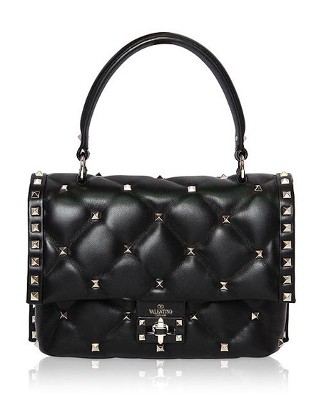 Valentino candy-stud top handle shoulder bags #SS18 #rockstud #quilted #black