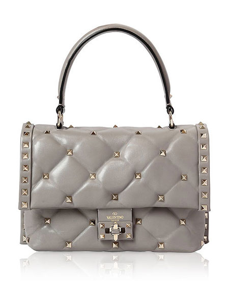 Valentino candy-stud top handle shoulder bags #SS18 #rockstud #quilted