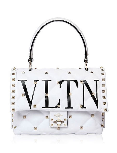 Valentino candy-stud top handle shoulder bags #SS18 #rockstud #quilted #white