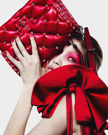 Valentino candy-stud top handle shoulder bag from Spring-Summer 2018 runway collection featuring Gigi Hadid #ad #campaign #red #ss18