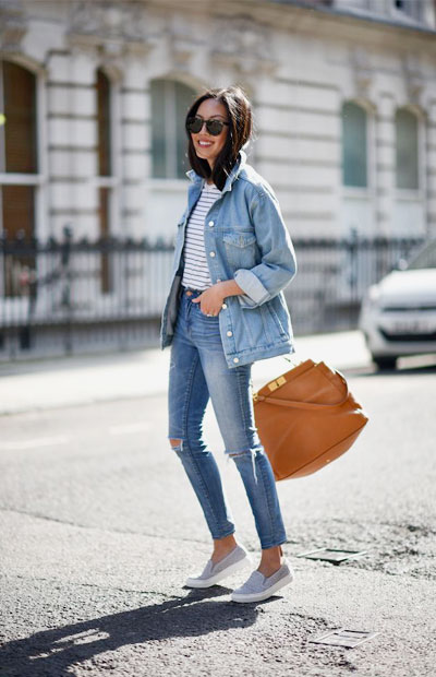 LOVIKA | 40 Stylish denim jacket outfit ideas to wear this Spring with jeans - denim on denim #oversized #casual
