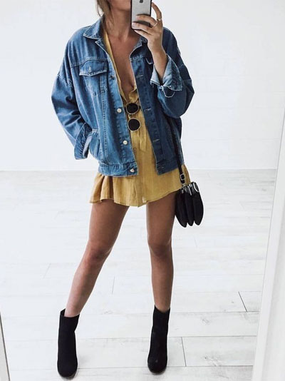 LOVIKA | 40 Stylish denim jacket outfit ideas to wear this Spring & look like a hipster #oversized #dress
