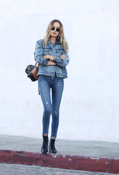 LOVIKA | 40 Stylish denim jacket outfit ideas to wear this Spring with jeans - denim on denim