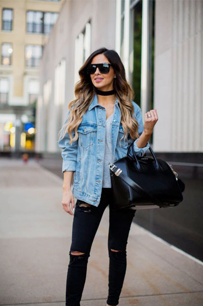 LOVIKA | 40 Stylish denim jacket outfit ideas to wear this Spring with jeans - denim on denim #oversized