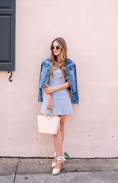 LOVIKA | 40 Stylish denim jacket outfit ideas to wear this Spring with dress #casual #classy