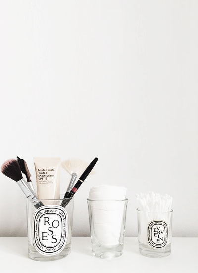 LOVIKA | 40 Decor Ideas to Reuse Your Diptyque Candles Jars - How to recycle and make it stylish #makeup #brush