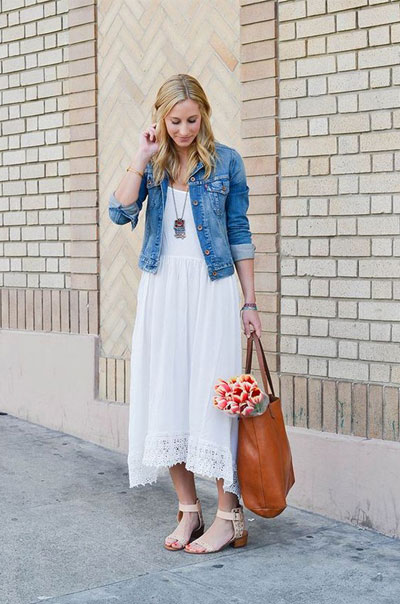 LOVIKA | 40 Stylish denim jacket outfit ideas to wear this Spring with white dress